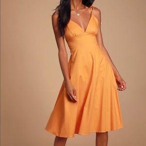 lulus orange midi dress